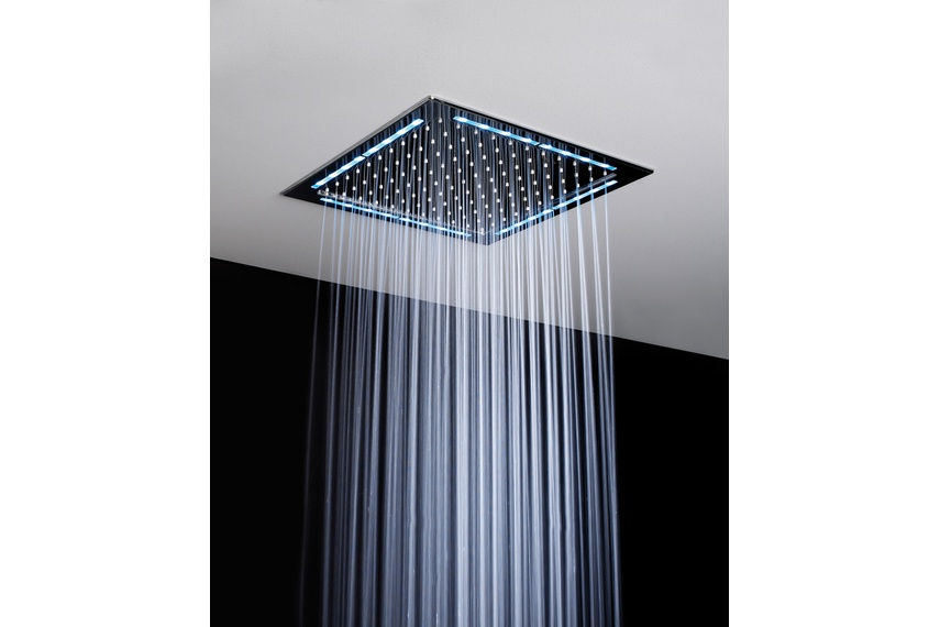Rainlight shower which uses a low-voltage LED to add soft light to ceiling showers