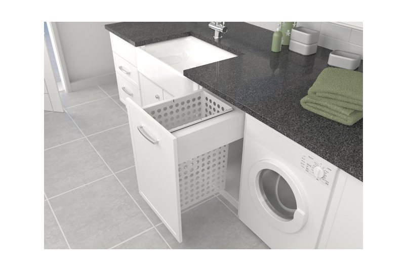 Tanova Deluxe laundry pull-out for 450mm cabinet with fixed front - 65L steel basket in grey.