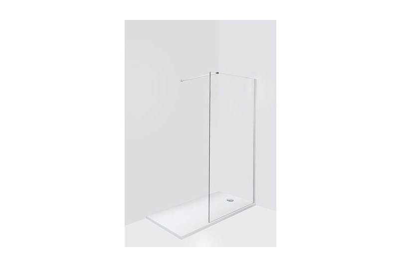 1400mm Front panel requires ceiling or wall support, height of panels 2000mm, safety glass 8mm thick