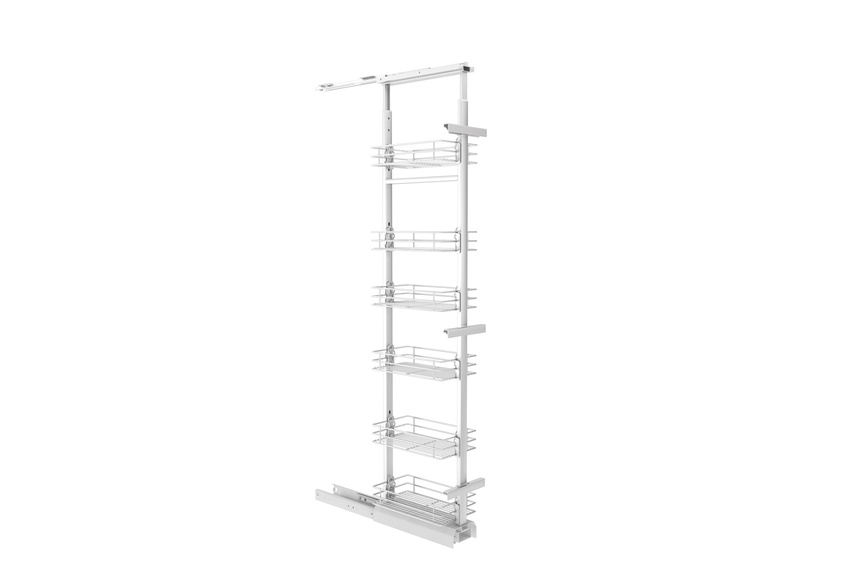Giamo tall pantry unit with wire baskets.