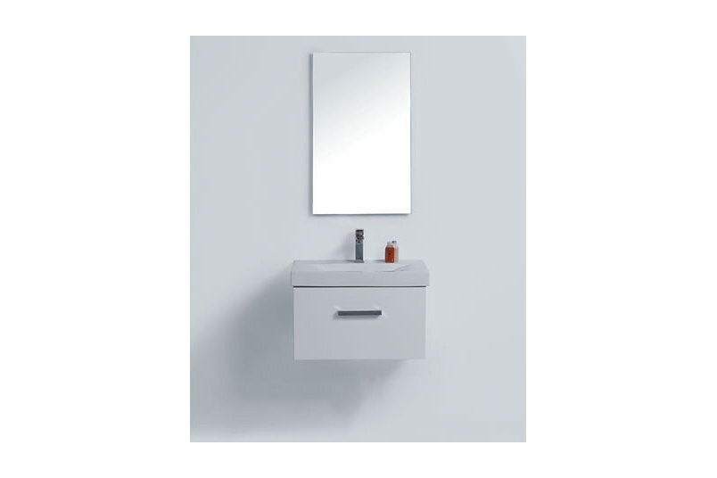 Wall vanity 600mm – 1 drawer, white/charred oak/prime oak, china top