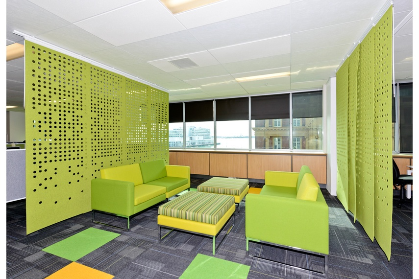 Perforated hanging panels in green