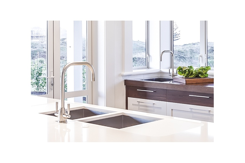 Perrin & Rowe Contemporary Oberon kitchen taps in pewter finish