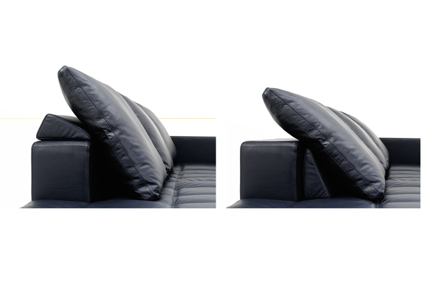 Adjustable back cushions for extra comfort shown in blue bahia leather