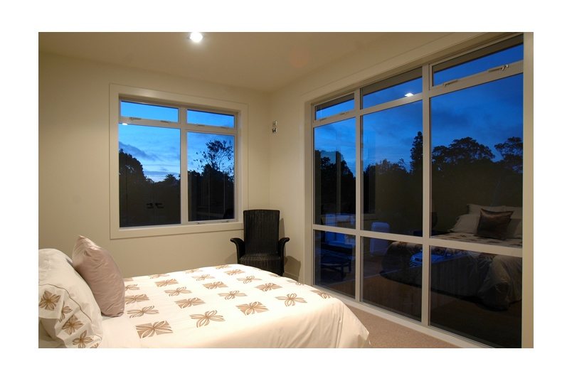 High narrow awning windows provide ventilation and security