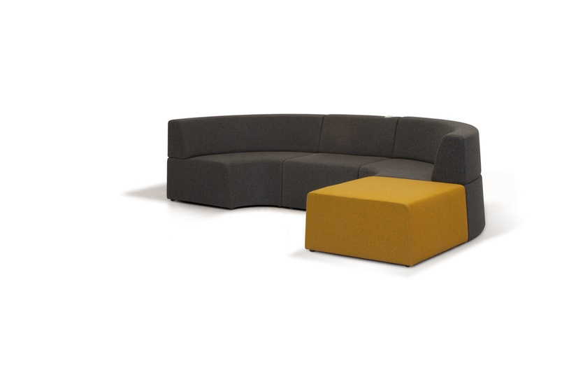 Pause seating system's soft lines and curves create a welcoming and calming atmosphere.
