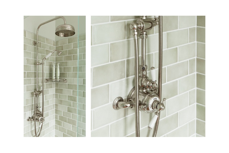 Perrin & Rowe thermostatic shower mixers are available in exposed or concealed shower sets
