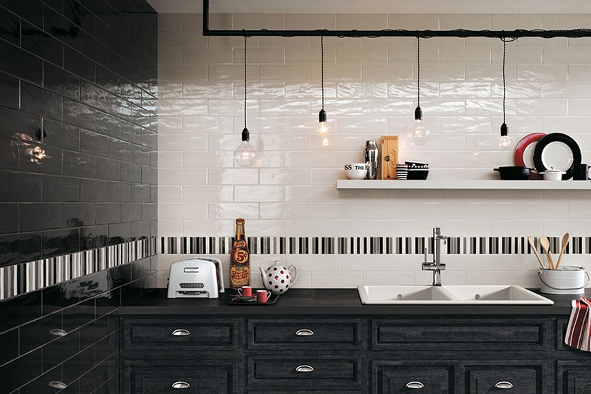 Manhattan black and white kitchen wall tiles
