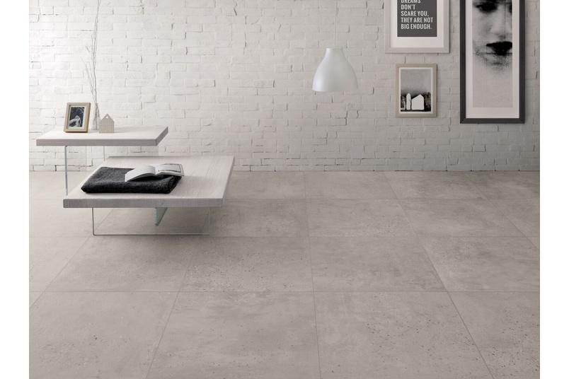 CONCRETE Light Grey tile – available in 45.3cm x 90.6cm format.