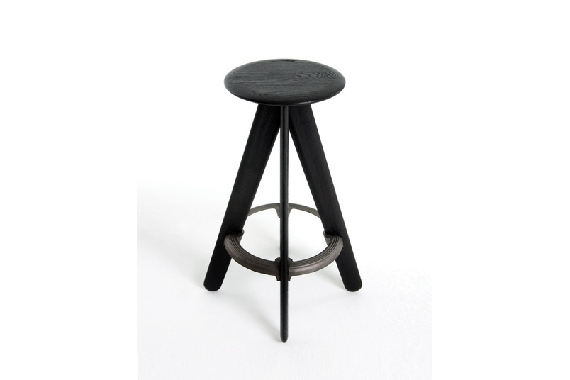 The Slab stool is available in black or natural