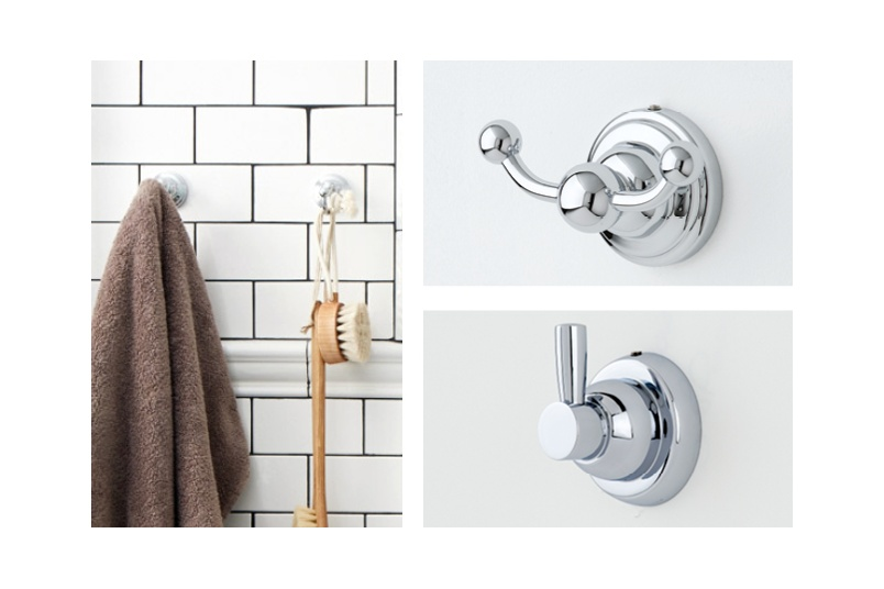 Perrin & Rowe offer a range of contemporary and traditional brass hooks with concealed fixings