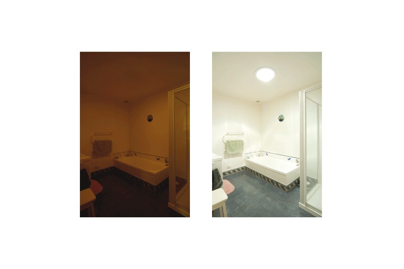 Before and after Solatube daylighting system is installed