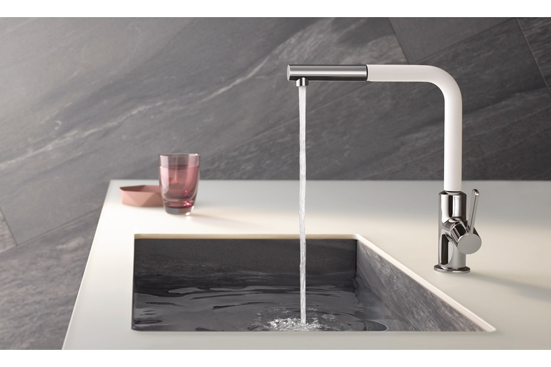 Kludi L-ine S White Chrome Pullout Sink Mixer.