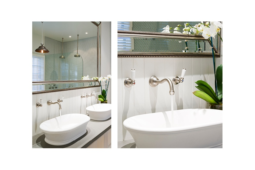 Perrin & Rowe Traditional wall mounted basin tap with white porcelain levers in pewter