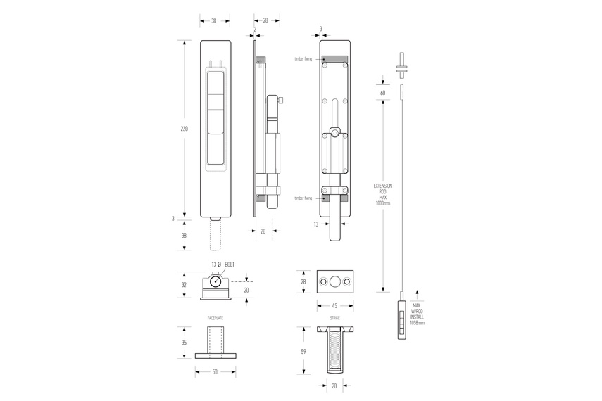 HB 1820 flush bolt line drawing
