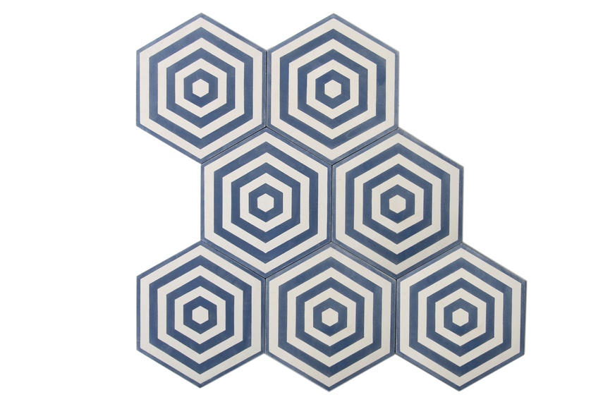 Encaustic Target tiles can be used successfully in both historic homes and modern showpieces.