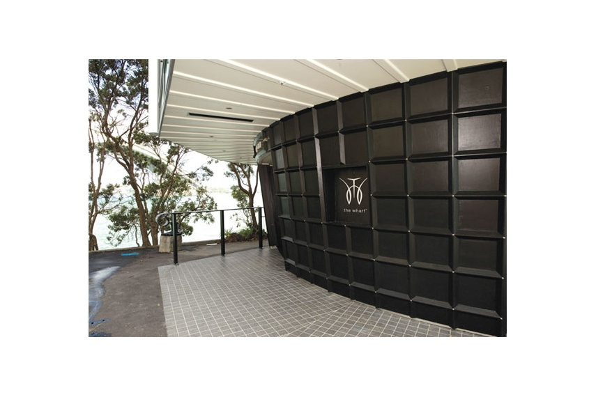 The Wharf exterior features Resene Lumbersider CoolColour™ tinted to Resene Black on base area