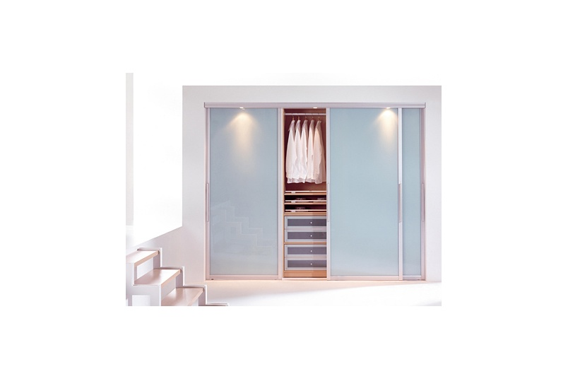Wardrobe Sliding Doors, using LACOBEL Pastel Blue.