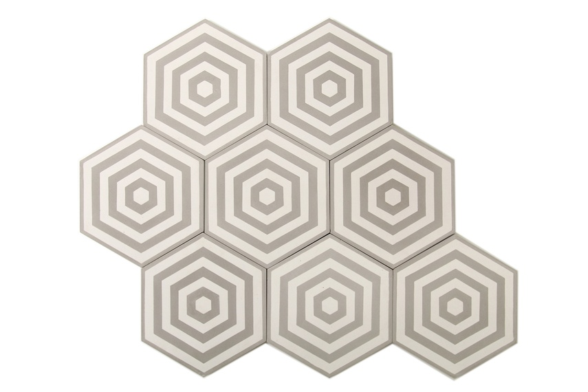 Encaustic Target tiles come in a range of colours.