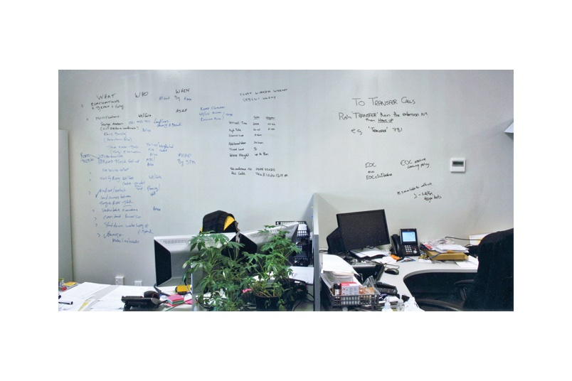 Resene Write-on wall paint can be applied over existing paint to achieve a whiteboard finish