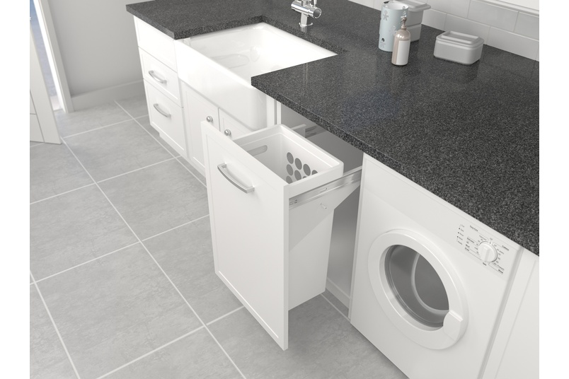 Tanova Simplex laundry pull-out for 450mm cabinet with 40L plastic hamper in white.