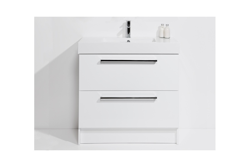 Drawer floor unit 900mm – 2 drawer, single bowl, polymarble top, soft close drawers