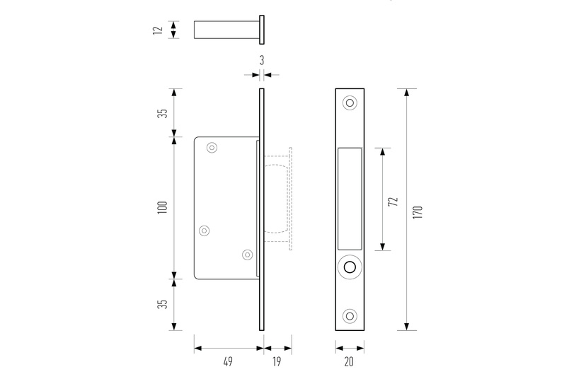 Line drawing –HB 680 push-button edge pull