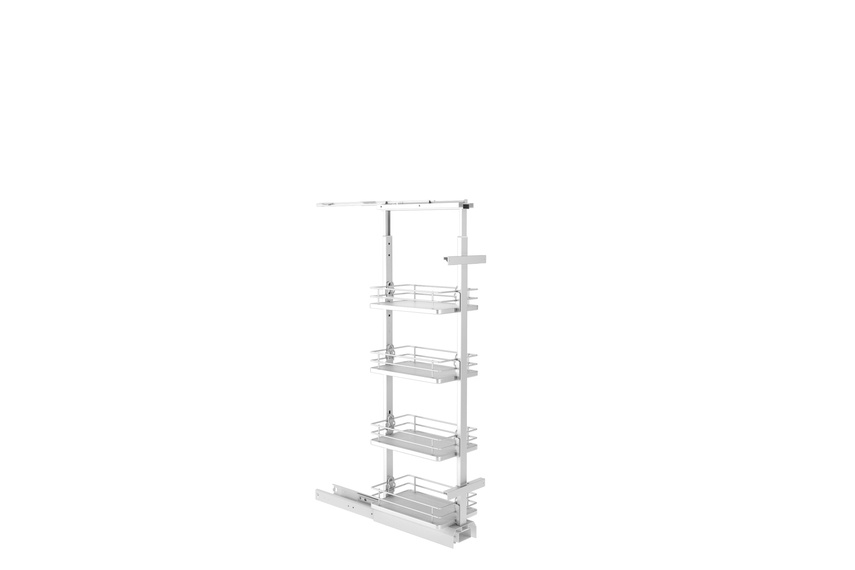 Giamo short pantry unit with solid base baskets.