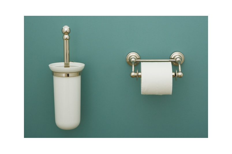 Perrin & Rowe wall mounted toilet brush and hinged bar paper holder