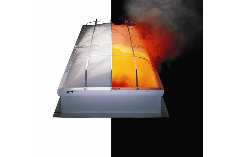 The APC Dayliter passive smoke and fire ventilation system doubles as a rooflight.