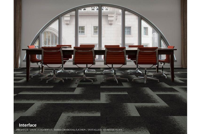Urban Retreat One carpet tile – Charcoal Lichen.