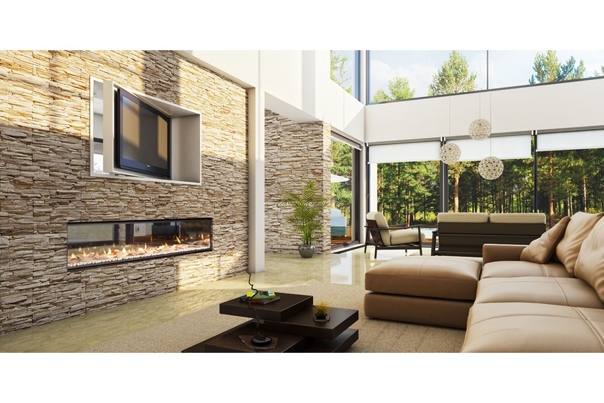 Escea double-sided, frameless DX1500 gas fireplace (White Crystalight fuel bed with Driftwood).