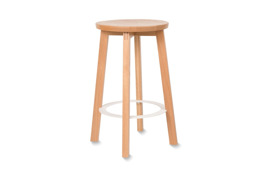 American oak mid stool with a white metal ring.