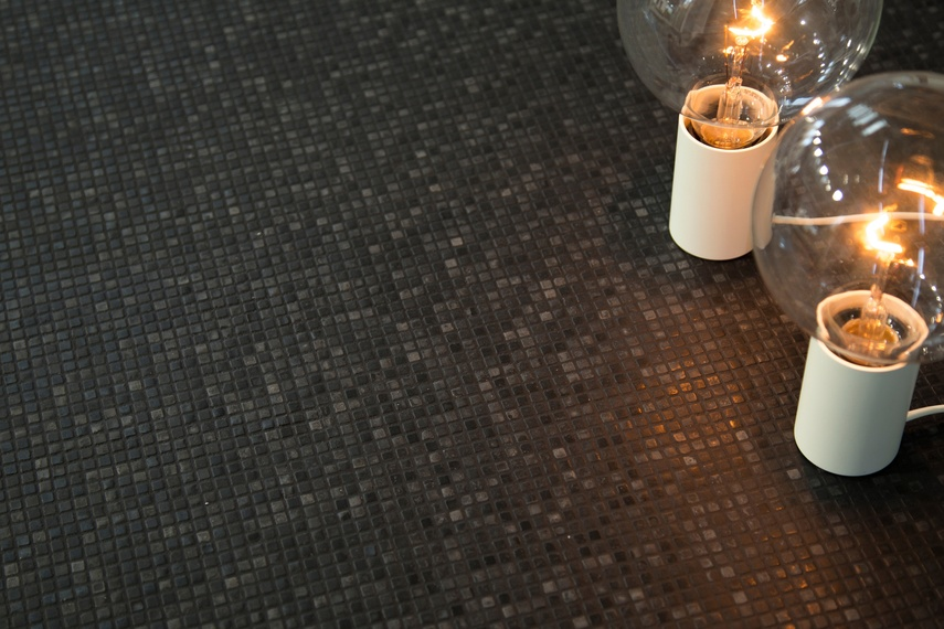 Unlike traditional glass mosaics, sharp edges have been eliminated so the material is smooth and tactile to touch.