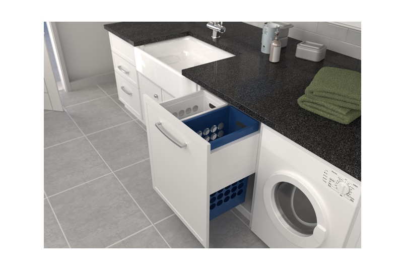 Tanova Deluxe laundry pull-out for 600mm cabinet with 2x40L plastic baskets in blue and white.