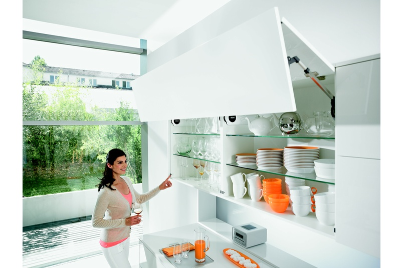 Aventos lift systems allow for easy access to overhead cabinetry.