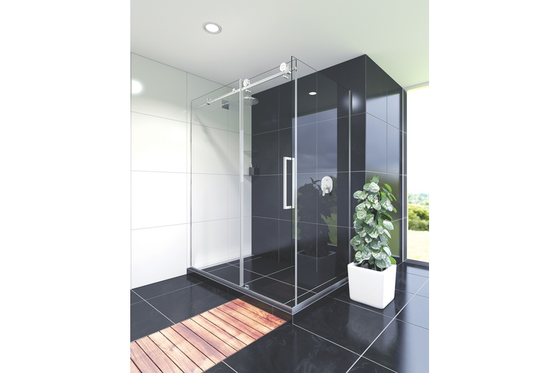Ravello tile shower in black.