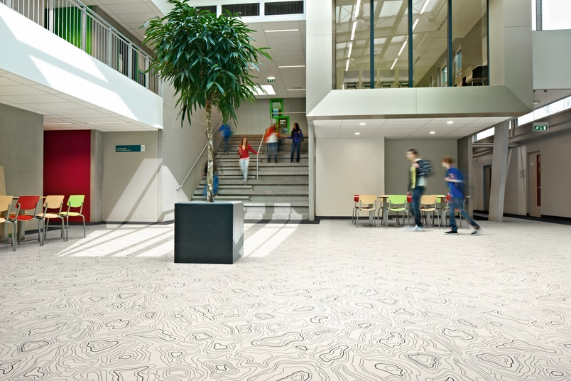Forbo Sarlon acoustic vinyl flooring in a college environment.