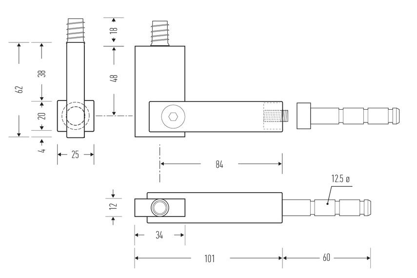 HB 570 stair rail bracket – line drawing