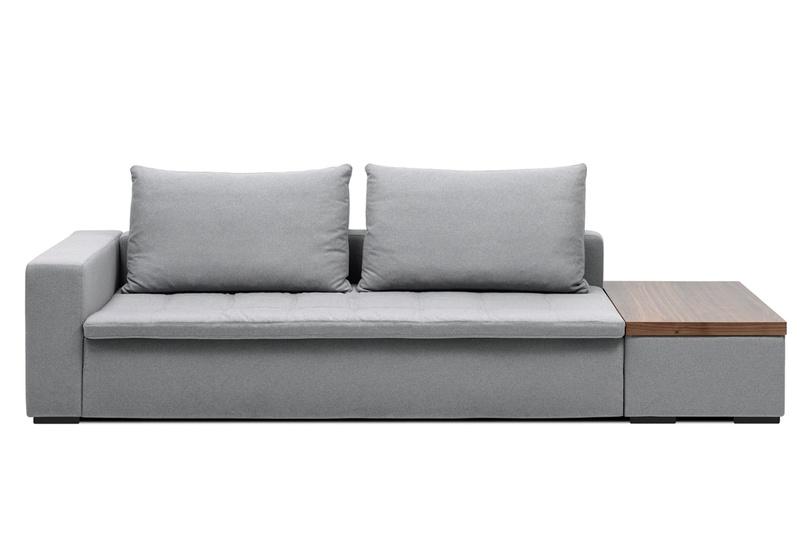 Mezzo modular sofa system with storage side table shown in light grey felt