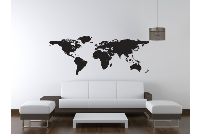 Blackboard vinyl world map - printed in blackboard vinyl. Draw all over with chalk and rub off again