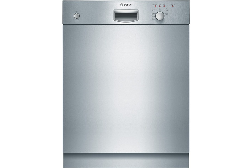 Stainless steel built-under dishwasher.